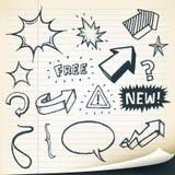 Setas, sinais e grupo de elementos esboçado Imagens de Stock Royalty Free