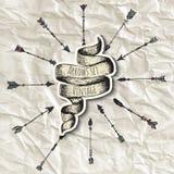Setas tiradas mão do vintage ajustadas ilustração do vetor