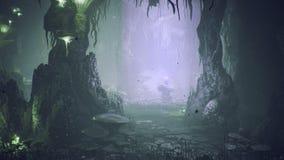 Setas verdes fantásticas y flor azul mágica en una cueva asombrosa Setas mágicas hermosas en la cueva de la fantasía y stock de ilustración