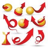 Setas vermelhas ajustadas com esfera fria Foto de Stock Royalty Free
