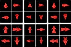 Setas vermelhas ajustadas em todos os sentidos Foto de Stock