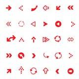 Setas vermelhas lisas do vetor ajustadas Fotos de Stock Royalty Free