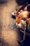 Setas y cebollas en cuenco en fondo de madera rústico Imagen de archivo