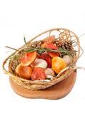Setas y romero en cesta Fotografía de archivo libre de regalías