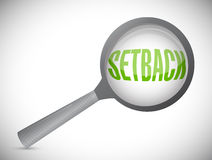 Setback under review. magnify glass Royalty Free Stock Photo