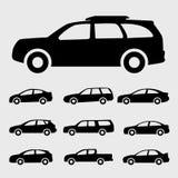 Setcar de pictogrammen zwarte illustratie van autopictogrammen Stock Foto