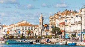 SETE,法国- 2017年9月10日:皇家运河的看法在Sete 复制文本的空间 免版税库存图片