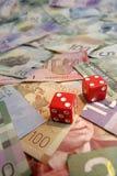 Sete afortunados em contas do dólar canadiano Fotos de Stock