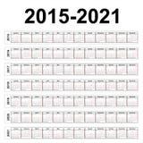 Sete anos de calendários do vetor ilustração stock