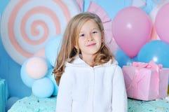 Sete anos felizes da menina idosa Fotografia de Stock Royalty Free