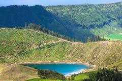 Sete Cidades,亚速尔群岛,葡萄牙欧洲美丽的湖  免版税库存图片