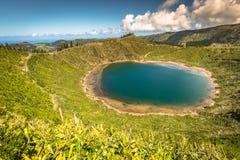 Sete Cidades,亚速尔群岛,葡萄牙欧洲美丽的湖  免版税库存照片
