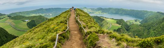 Sete Cidades auf der Insel von Sao Miguel in den Azoren, Portugal stockbild