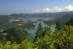 Sete Cidades. Azores lake of Sete Cidades, at Sao Miguel island, Portugal stock images