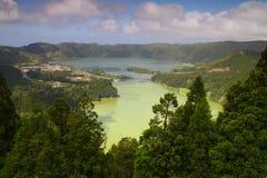 Sete Cidades Crater Lakes, Lagoa Verde and  Lagoa Azul Stock Photo