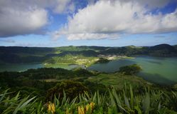 Sete Cidades green and blue lake on Sao Miguel landscape. View to Sete Cidades green and blue lake on Sao Miguel landscape, Azores, Portugal Stock Image