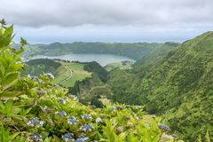 Sete Cidades on the island of Sao Miguel in the Azores, Portugal Stock Images