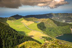 Sete Cidades Lagoa Ponta Delgada AZORES Sete Cidades is a civil. Parish in the centre of the municipality of Ponta Delgada, that is located in a massive royalty free stock photography
