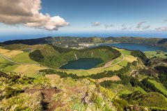 Sete Cidades Lagoa Ponta Delgada AZORES Sete Cidades is a civil. Parish in the centre of the municipality of Ponta Delgada, that is located in a massive royalty free stock image