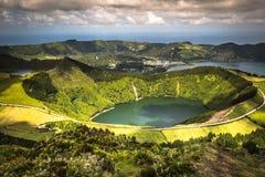 Sete Cidades Lagoa Ponta Delgada de AZOREN Sete Cidades is burgerlijk Stock Foto's