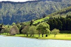 Sete Cidades lagoon, Sao Miguel, Azores, Portugal royalty free stock photo