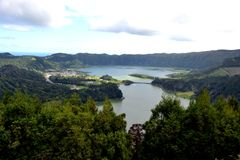 Sete Cidades lagoon, Sao Miguel, Azores, Portugal royalty free stock images