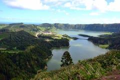 Sete Cidades lagoon, Sao Miguel, Azores, Portugal royalty free stock photos