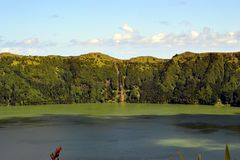 Sete Cidades lagoon, Sao Miguel, Azores, Portugal stock photos