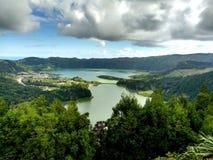 Sete Cidades lagoon, Sao Miguel, Azores. Portugal royalty free stock photos