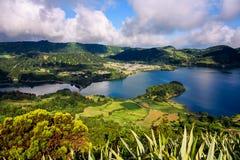 Sete cidades lakes` view. Landscape of sete cidades volcano`s lake. azores, portugal stock images