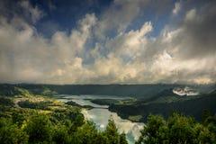 Sete cidades lakes` view. Landscape of sete cidades volcano`s lake. azores, portugal royalty free stock photography