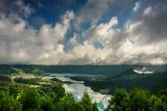 Sete cidades lakes ` view. Landscape of sete cidades volcano`s lake. azores, portugal stock photography