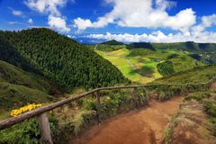Sete Cidades landscape. On Sao Miguel Island, Azores, Europe Stock Photography