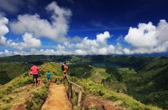 Tourists traveling and taking photos in Sete Cidades, 30 July 2017