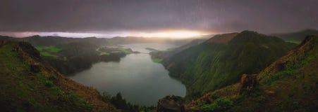 Sete Cidades twin crater lakes Stock Photo