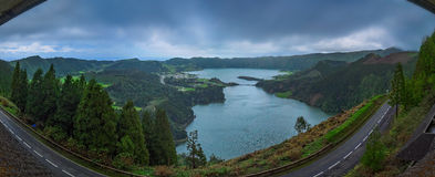 Sete Cidades twin crater lakes Royalty Free Stock Photo