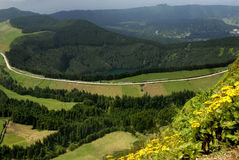 Sete Cidades. View from above of Sete Cidades, in azores island of Sao Miguel stock photo