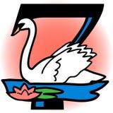 Sete cisnes uma natação/eps ilustração royalty free