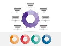 Sete coloridos tomaram partido vetor infographic da carta do diagrama da apresentação do enigma Fotos de Stock Royalty Free