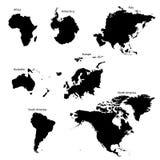 Sete continentes Fotos de Stock