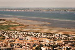 Sete - fascinating small town on the French Mediterranean coast. Known as the Venice of Languedoc, aerial view royalty free stock photo
