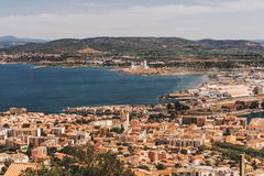 Sete - fascinating small town on the French Mediterranean coast. Known as the Venice of Languedoc, aerial view royalty free stock photos