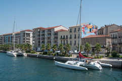 Beautiful catamaran Moored in the channel. Sete - France - 18 August 2017 - beautiful catamaran Moored in the channel stock image