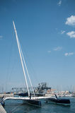 Beautiful catamaran Moored in the channel. Sete - France - 18 August 2017 - beautiful catamaran Moored in the channel royalty free stock photography