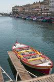 Boats moored in the channel before the St Louis jousting event. Sete - France - 18 August 2017 - boats moored in the channel before the St Louis jousting event royalty free stock images