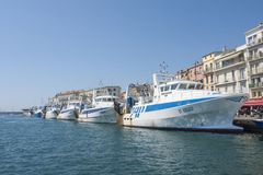 Fish boats in Sete Harbor in the south of France. Sete France 08-07-2018. Fish boats in Sete Harbor in the south of France royalty free stock images