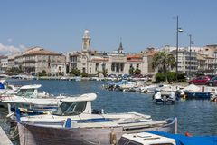 Fish boats in Sete Harbor in the south of France. Sete France 08-07-2018. Fish boats in Sete Harbor in the south of France stock photo