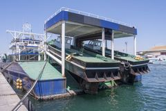 Fish boats in Sete Harbor in the south of France. Sete France 08-07-2018. Fish boats in Sete Harbor in the south of France stock photography
