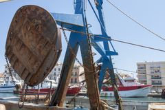 Fish boats in Sete Harbor in the south of France. Sete France 08-07-2018. Fish boats in Sete Harbor in the south of France stock photos