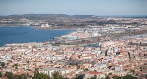 Aerial view of historic city center and harbor of Sete, France. Sete, France - January 4, 2019: Aerial view of historic city center and harbor a winter day royalty free stock images